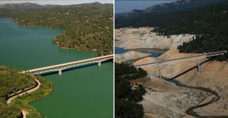 Ảnh chụp hồ Oroville (California, Mỹ) từ tháng 7/2010 (trái) và tháng 8/2016 (phải). Chỉ trong vòng 6 năm, lòng hồ đã cạn khô gần hết.