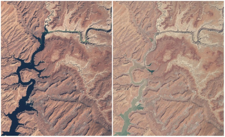 Chỉ trong 15 năm (từ 1999 đến 2014), hồ Powell ở Arizona, Mỹ đã khô cạn đi đáng kể.