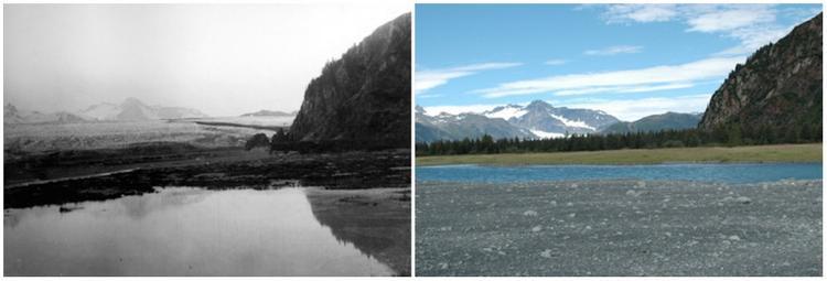 Sông băng Bear (Alaska) sau 100 năm: tháng 7/1909 (trái) và tháng 8/2005 (phải).
