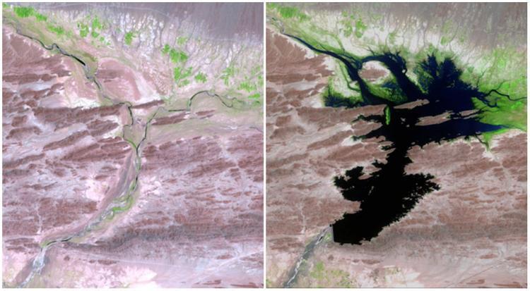 Một trường hợp tương tự là dòng sông Dasht ở Pakistan. Ảnh so sánh từ tháng 8/1999 (trái) và tháng 6/2011 (phải) cho thấy vùng đất này đã được hưởng nhiều thành quả từ dòng sông đào này.