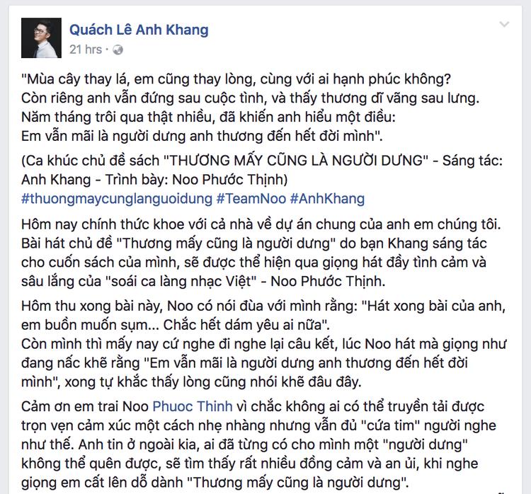 Nhà văn Anh Khang hé lộ tên ca khúc ballad mới được thể hiện bởi Noo. Nhiều khán giả khi đọc những dòng chia sẻ trên đã cho rằng ca khúc lần này có cái tên nghe thôi đã thấy buồn.