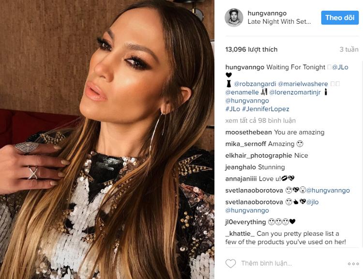"""Nữ hoàng nhạc Latin Jennifer Lopez cũng là một trong những siêu sao """"quen mặt"""" trên tài khoản cá nhâncủa anh."""