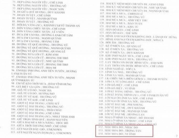 Ca khúc Màu hoa đỏ nằm trong danh sách cấm lưu hành.