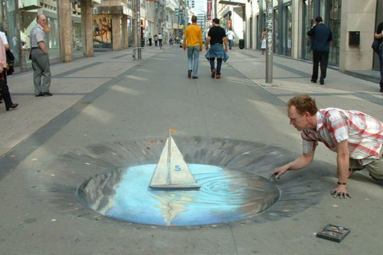 Sao giữa đường lại có vũng nước thế này?