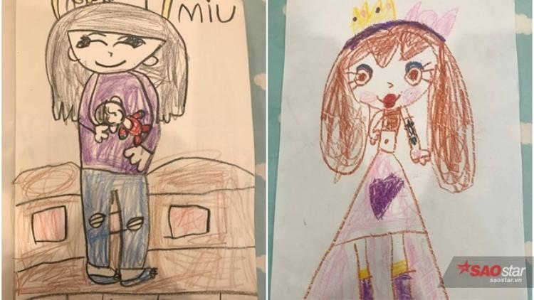 Miu được thừa hưởng năng khiếu hội họa của mẹ. Những nét vẽ của cô bé 5 tuổi đầy hồn nhiên và cũng rất sáng tạo.