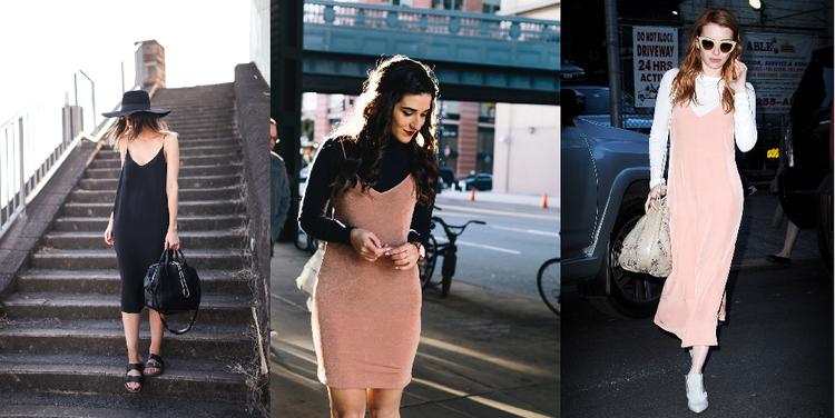 Thực chất slip dress là kiểu váy ngủ, bắt đầu trở nên thịnh hành trong vòng thời gian ngắn trở lại đây. Kiểu váy hai dây cổ chữ V rất được lòng các quý cô New York bởi sự thoải mái và còn che khuyết điểm rất ok ! Dù gọi là váy ngủ nhưng họ có thể mặc ra đường với trang phục rất chỉn chu, kết hợp chủ yếu với giày bệt, sandal.