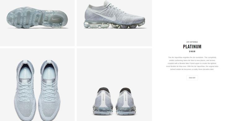 Cùng mức giá niêm yết $190 (khoảng 4.300.000 VNĐ) thì dĩ nhiên chưa đầy một giờ đồng hồ, Nike đã đủng đỉnh dán bảng sold out (hết sạch) to đùng trên web bán chính thức.