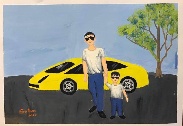 Ít ai biết, Subeo còn có năng khiếu vẽ tranh. Con trai của Hồ Ngọc Hà từng tự tay vẽ tặng bố Cường Đô La nhân ngày sinh nhật.