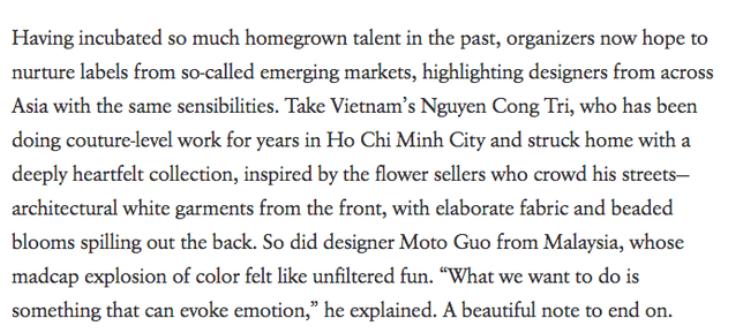 """Có thể thấy Vogue hoàn toàn bị """"đánh gục"""" và không tiếc lời hoa mỹ dành tặng Công Trí."""
