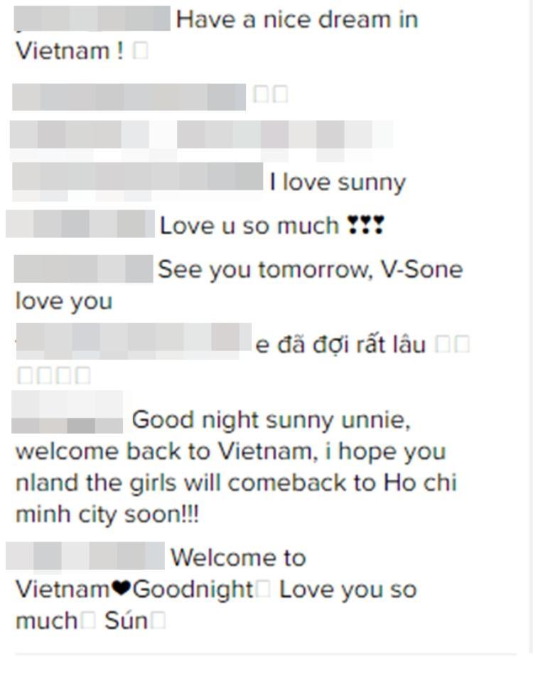 Lập tức có sự xuất hiện của hàng loạt bình luận chia sẻvà những lời ngọt ngào từ người hâm mộ Việt Nam dành cho kiều nữ SNSD.