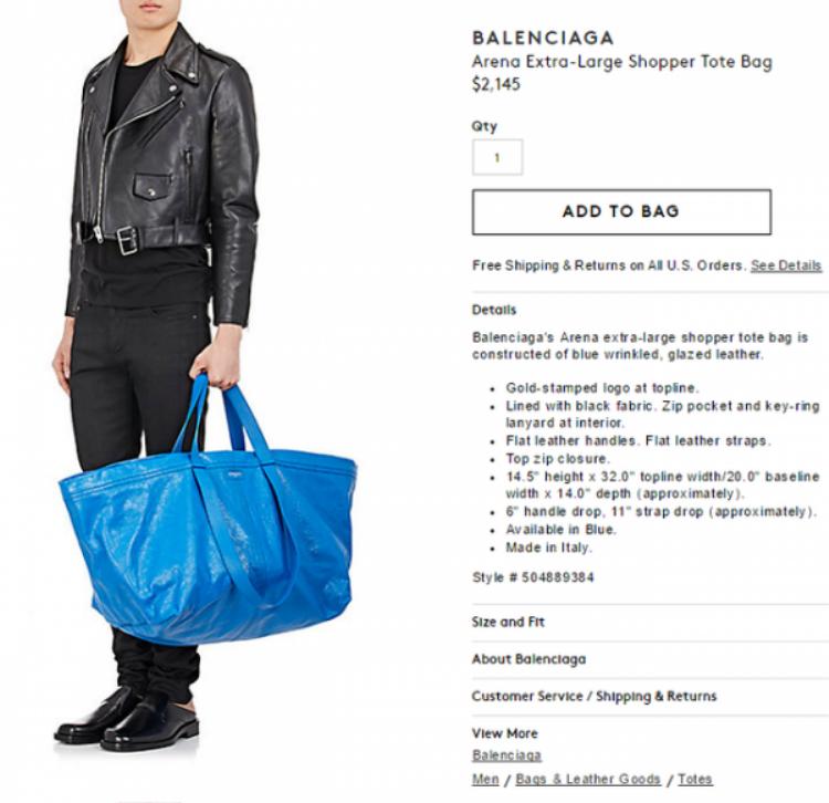 … nhưng chiếc túi Balenciaga có giá gần 50 triệu đồng trong khi của IKEA chỉ 22.000 đồng