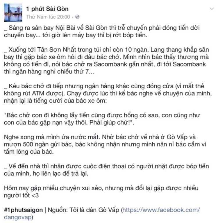 Câu chuyện về bác xe ôm tử tế được chia sẻ trên facebook.