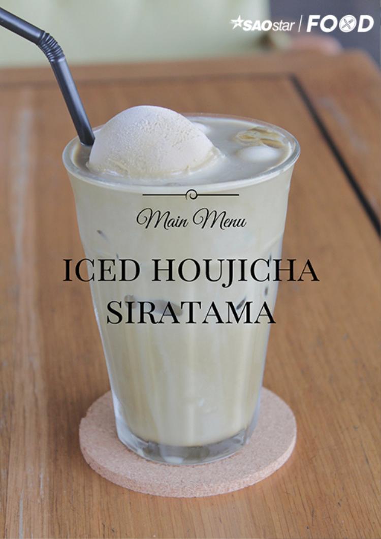 Một phiên bản trà khác của MOF chính là trà rang Houjicha, uống kèm với sữa, kem gelato và siratama