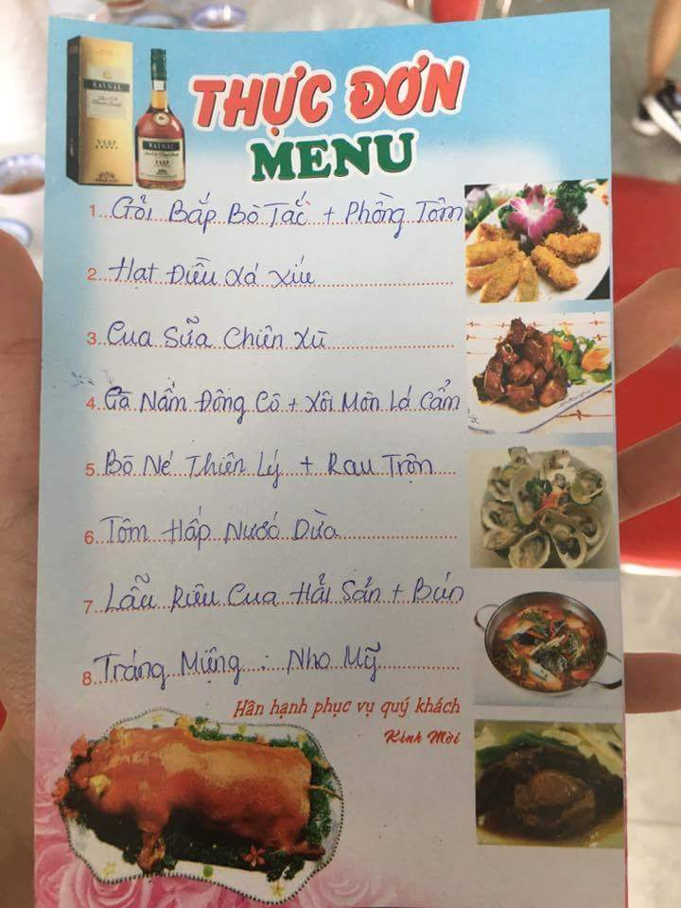 Menu với 7 món ăn dân giả và quen thuộc.