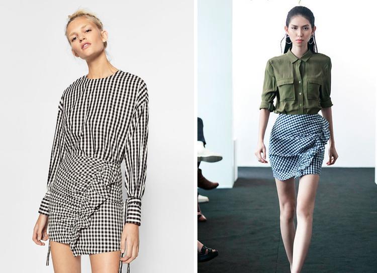 Chân váy kẻ ca-rô với điểm nhấn bèo nhún có nhiều nét tương đồng sản phẩm của hãng thời trang Zara.