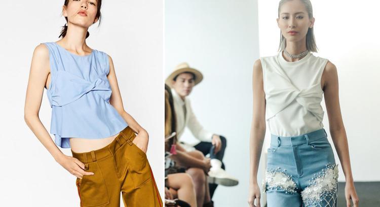 Mẫu áo thắt nơ xoắn trước ngực cũng bị đem ra so sánh với trang phục của Zara, được sản xuất khoảng hai năm trước.