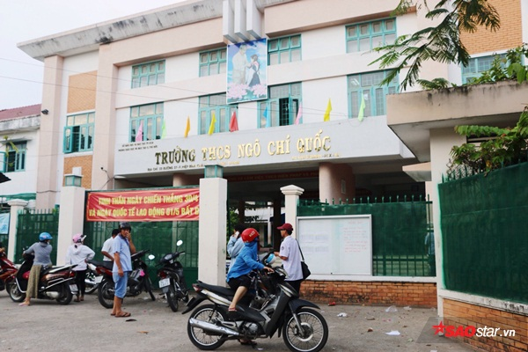 Ngôi trường Ngô Quốc Chí nơi các em học sinh trong vụ việc chém nhau đang theo học.