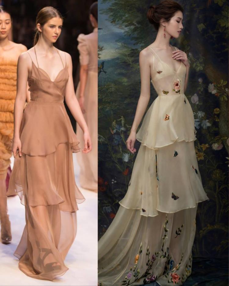 Đều là váy ba tầng có phần cổ áo và bra lót bên trong không khác nhau là mấy.