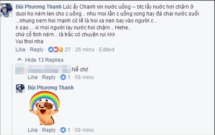 Phương Thanh trả lời về sự việc chai nước trong đêm nhạc.