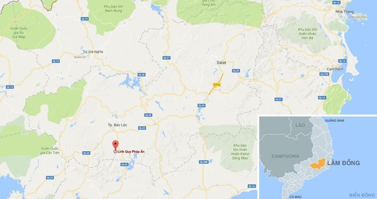 Linh Quy Pháp Ấn (chấm đỏ) trên bản đồ. Ảnh: Google Maps.
