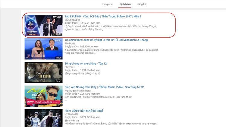 Tập 8 vòng Đối đầu của team HLV Ngọc Sơn xuất sắc lọt top #1 trên Tab thịnh hành kênh Youtube