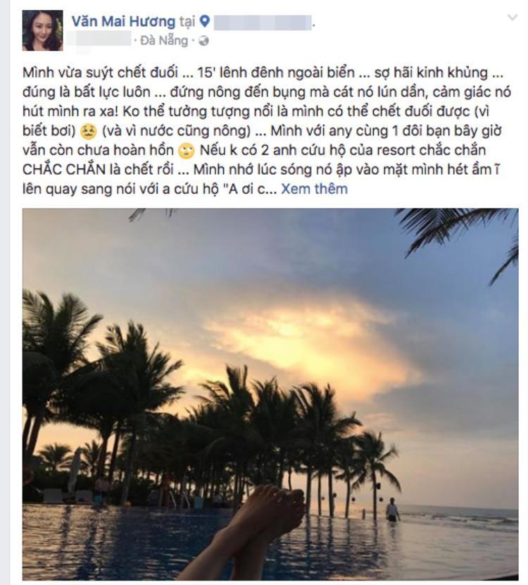 Văn Mai Hương suýt chết đuối sau 15 phút bất lực lênh đênh trên biển