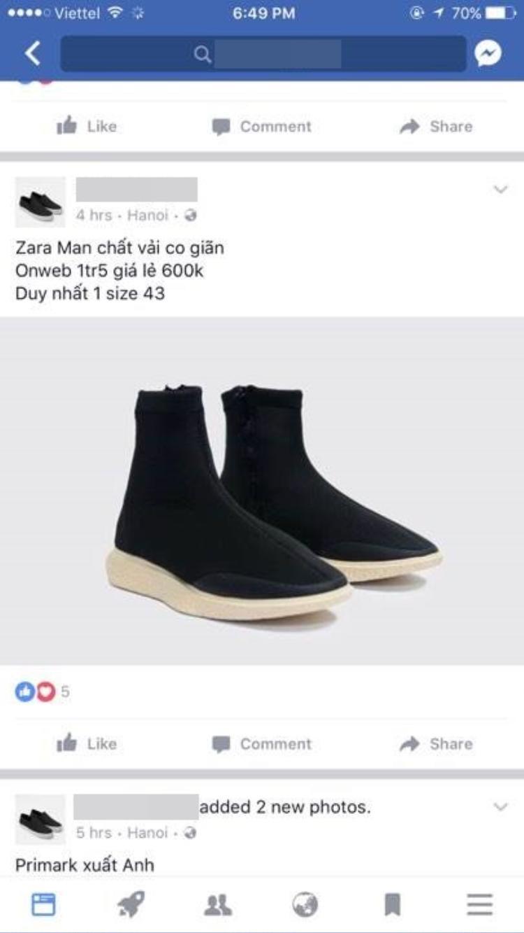Theo dòng Zara, đôiHigh Top Black Sock Sneakersnày cũng đang nhốn nháo thị trường Việt.
