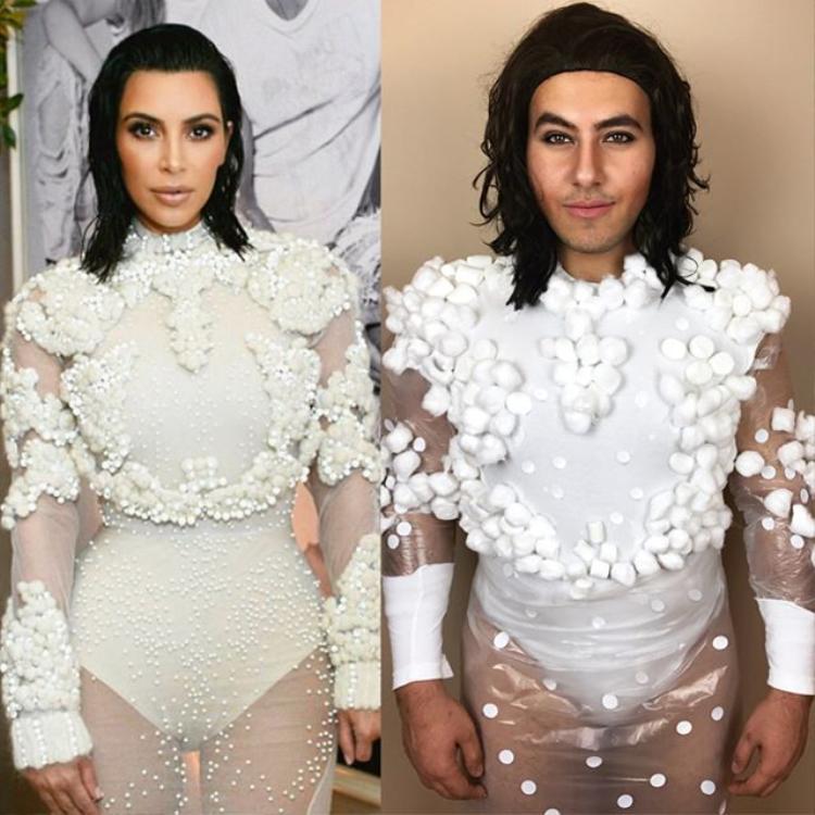 """Đây không phải lần đầu tiên nàng Kim """"siêu vòng 3"""" rơi vào tầm ngắmMina Gerges, bởi trước đó bộ váy đính kết cầu kỳ của người đẹp cũng bị chế ra thế này."""