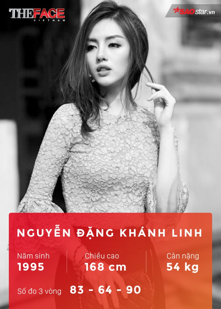 """Sở hữu chiều cao xấp xỉ 1m7, làn da trắng, đôi mắt to và đôi môi mọng chuẩn xu hướng, Khánh Linh nổi lên trong giới người mẫu trẻ ở Hà Nội với những bộ hình thời trang chuyên nghiệp, gợi cảm. Ngoài danh hiệu """"nữ hoàng lookbook"""", khả năng ca hát của Khánh Linh cũng sẽ là một """"tuyệt chiêu"""" của cô nàng tại The Face năm nay."""