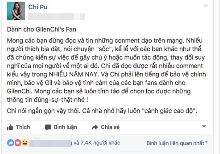 Chi Pu khuyên các fan cần cảnh giác trước tin đồn trên mạng xã hội.
