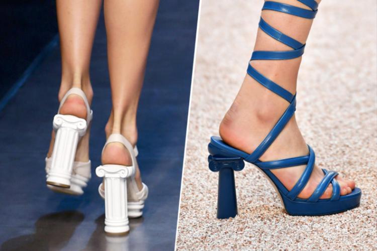 """Hai """"cây cột"""" giống đến lạ kỳ giữa Dolce & Gabbana 2014 (trái) và Chanel 2017 (phải)."""