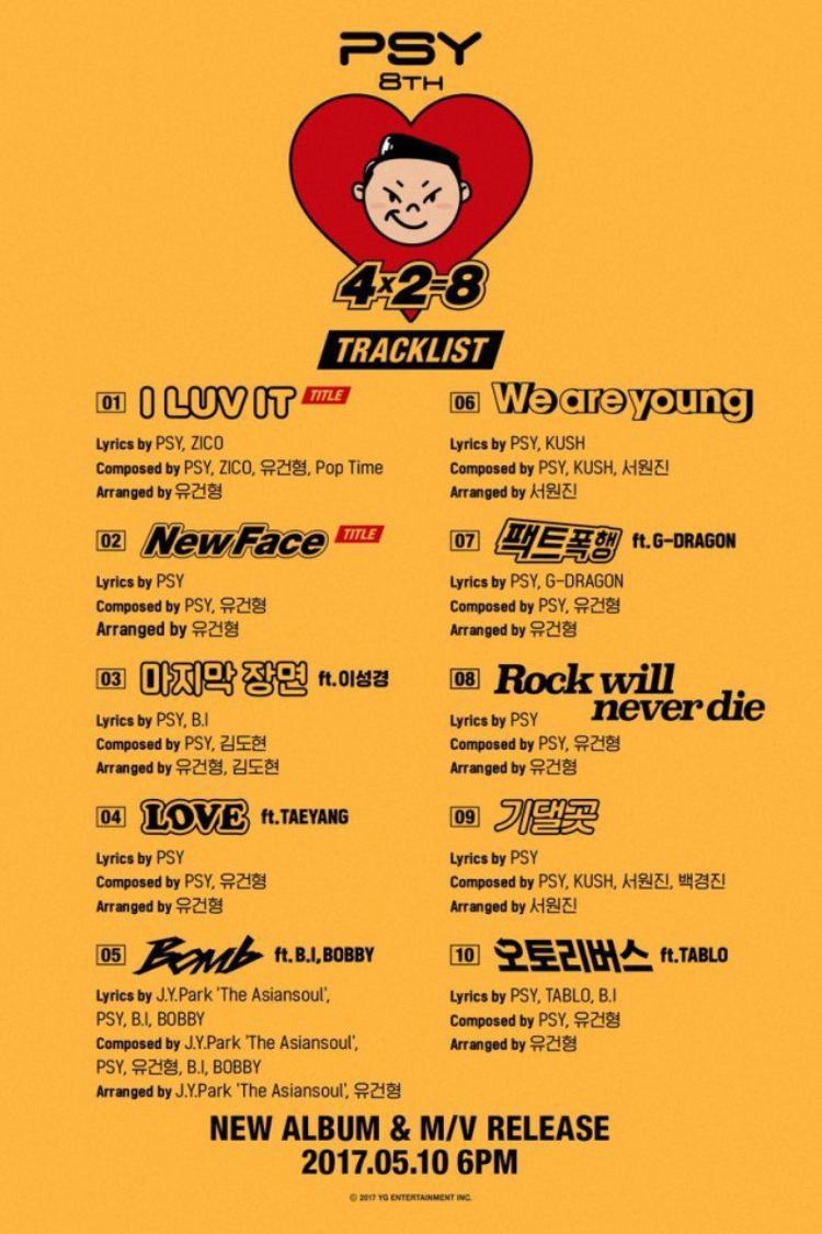 Danh sách 10 ca khúc trong album mới của PSY đã được công bố.