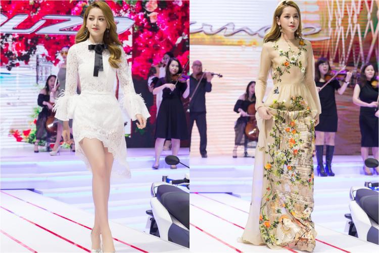 Có mặt tại sự kiện, Chi Pu chọn trang phục của 2 NTK tài năng: David Wong (trang phục ren màu trắng) và Á quân Project Runway Trần Hùng (chiếc váy thêu hoa thuộc bộ sưu tập Children's Books).