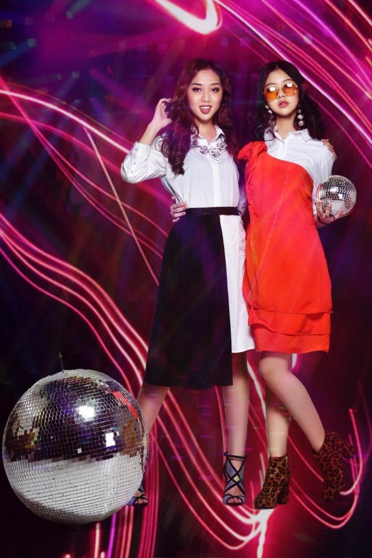 Disco night với áo slogan và đầm sơ mi
