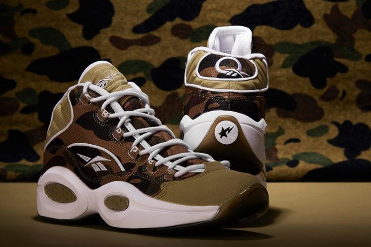 "BAPE x Mita Sneakers x Reebok Question Mid ""1st Camo""."