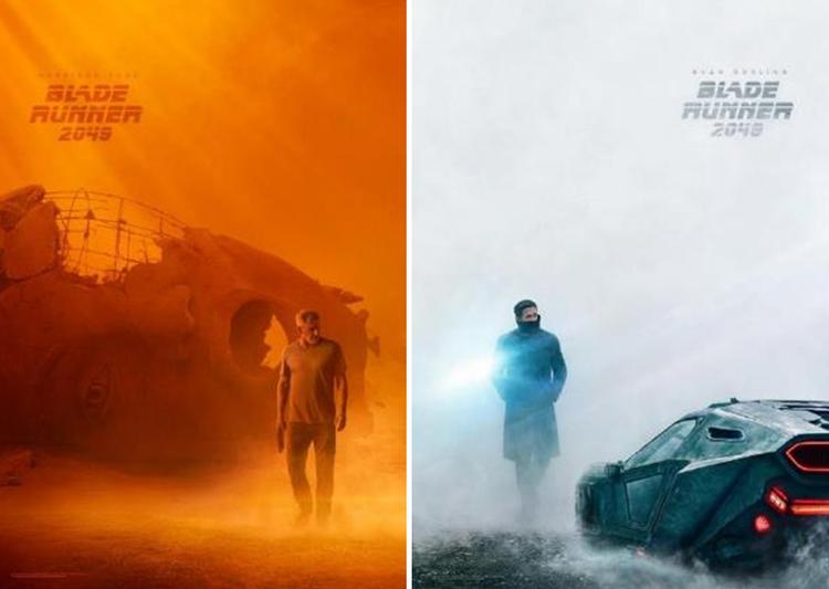 Bộ đôi poster của hai nhân vật Deckard (Harrison Ford) và K (Ryan Gosling) thể hiện sự đối lập: quá khử hoang tàng, ẩn tích - hiện tại hào nhoáng và đậm chất vượt bậc về công nghệ của tương lai.