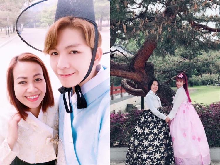 Trước đó, cả hai đã đi chụp ảnh diện hanbok cùng hai mẹ.