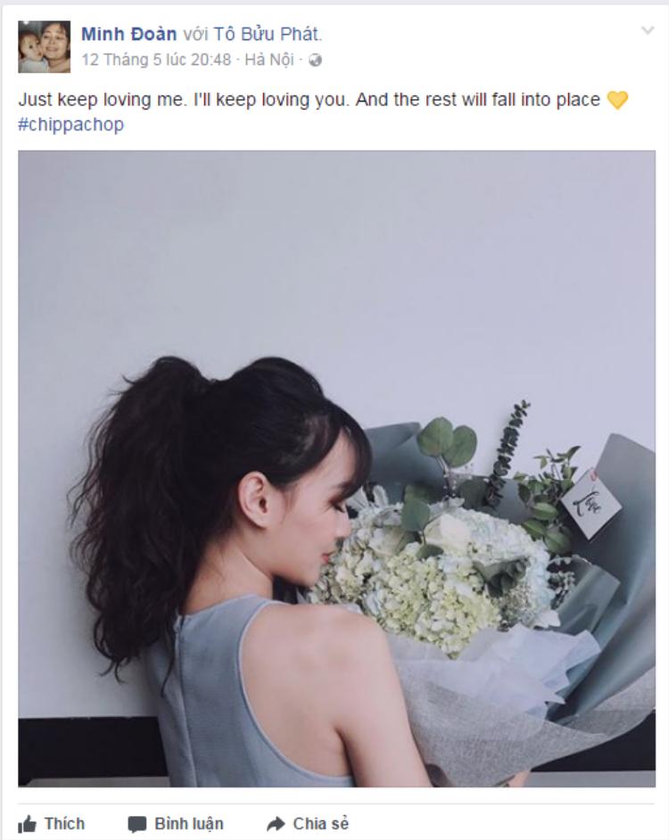 Những lời yêu thương mà Sun Ht dành cho Phở Đặc Biệt trên trang facebook cá nhân. Chắc chắn cô nàng sẽ cảm thấy vô cùng hạnh phúc với bó hoa lớn được anh người yêu tặng.