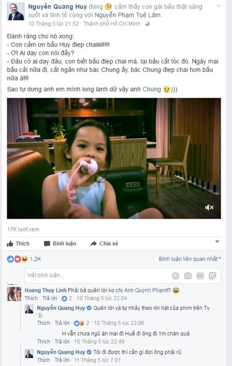 Khi được Hoàng Thùy Linh tag vào trang cá nhân của Quang Huy, Phạm Quỳnh Anh im lặng và không trả lời.
