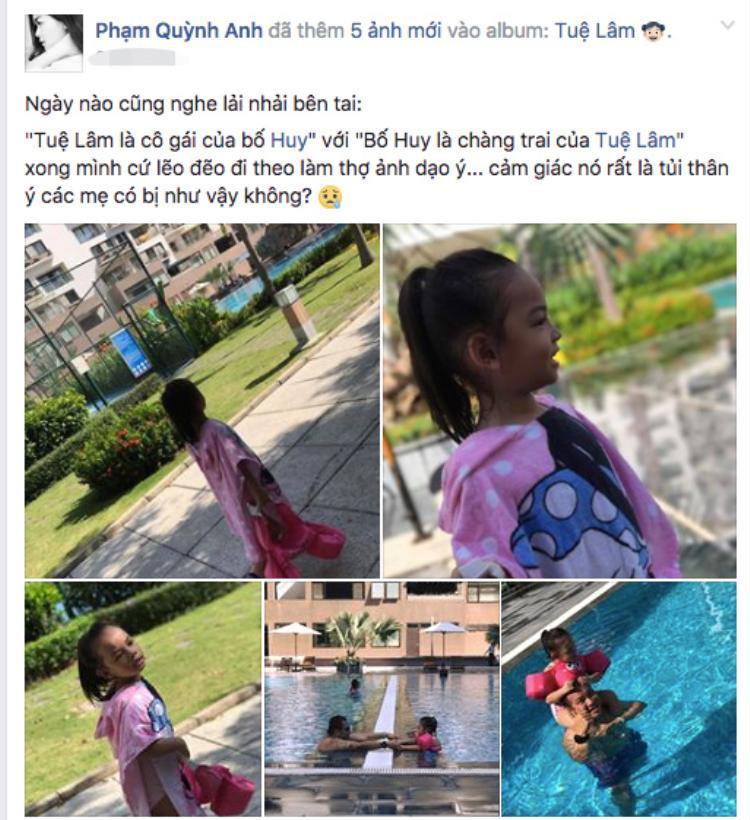 Chia sẻ mới nhất của Phạm Quỳnh Anh trên Facebook cá nhân như câu trả lời cho nghi vấn trục trặc hôn nhân.