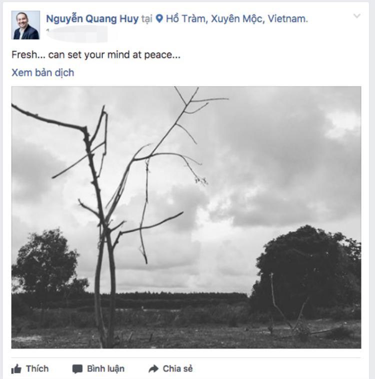 Về phía mình, đạo diễn Quang Huy cũng vừa chia sẻ một bức ảnh khá u ám lại Hồ Tràm.