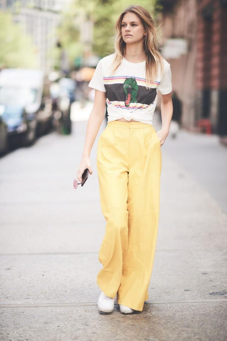 Tạo điểm nhấn phần eo cho chiếc T-shirt như nàng mẫu Nadine Leopold - tại sao không?