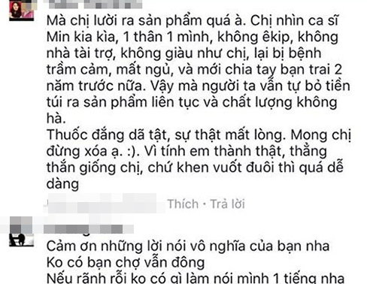Bình luận rất dài của anti-fan gửi đến Tóc Tiên.