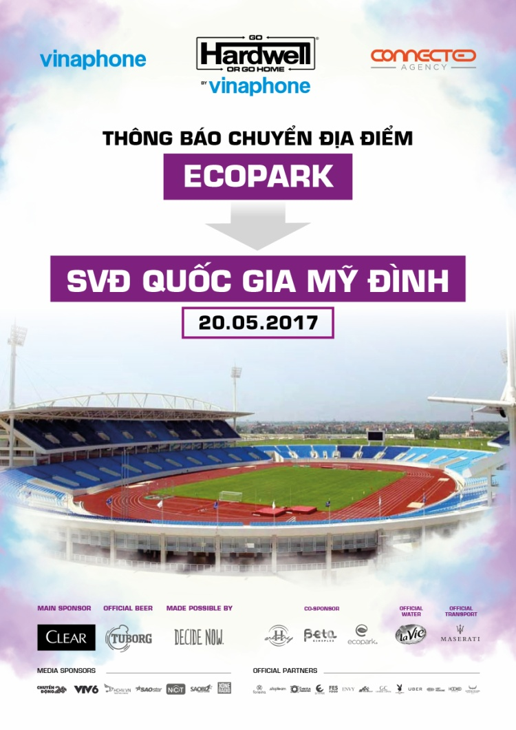 Hardwell by VinaPhone đổi địa điểm về sân vận động lớn nhất Việt Nam