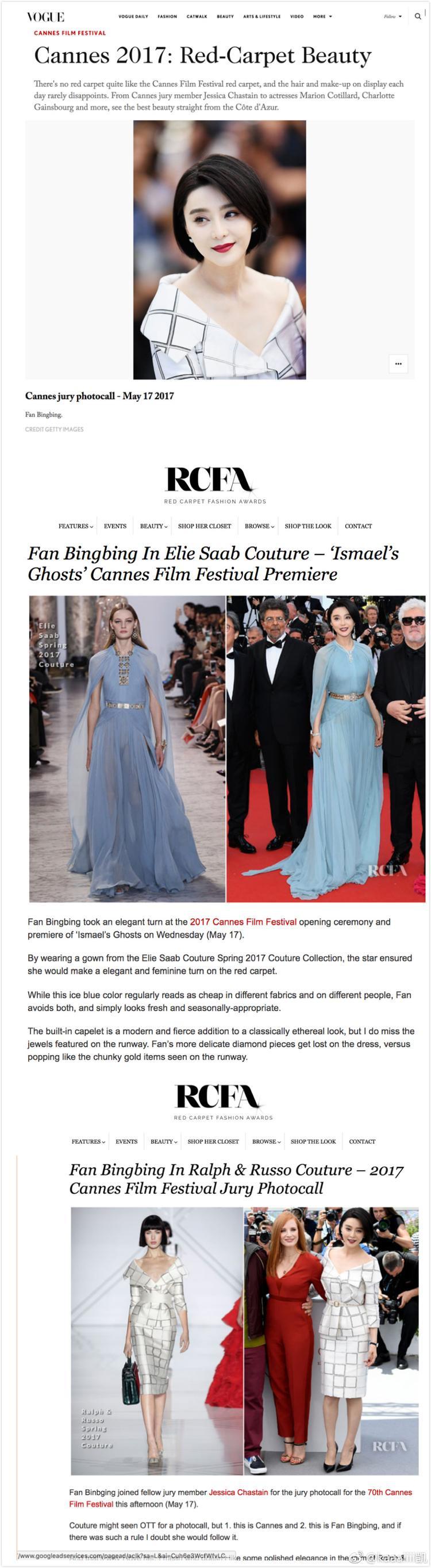 Trang Red Carpet Fashion Awardđã không hết lời khen ngợi Phạm gia trong thiết kếxanh củaElli Saab, màu sắc thích hợp cho thời tiết tháng 5 ở Pháp, giúp cô trông tươi trẻ và tạo cảm giác dễ chịu cho người xem.