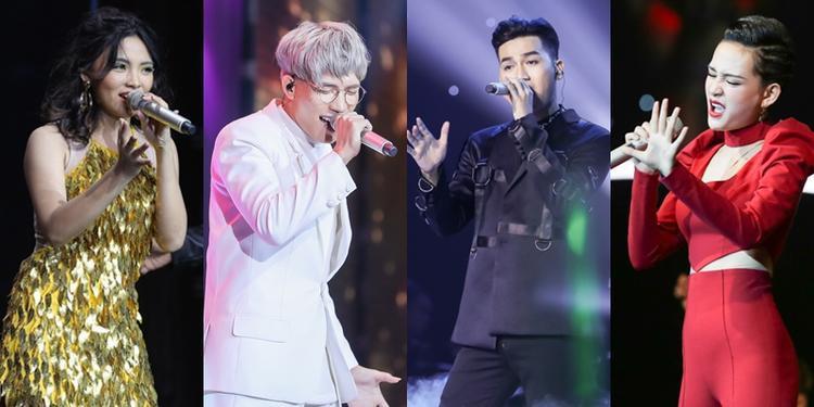 Anh Tú cùng top 3 Ali Hoàng Dương, Hiền Hồ, Hiền Mai trước đêm Chung kết Giọng hát Việt 2017.
