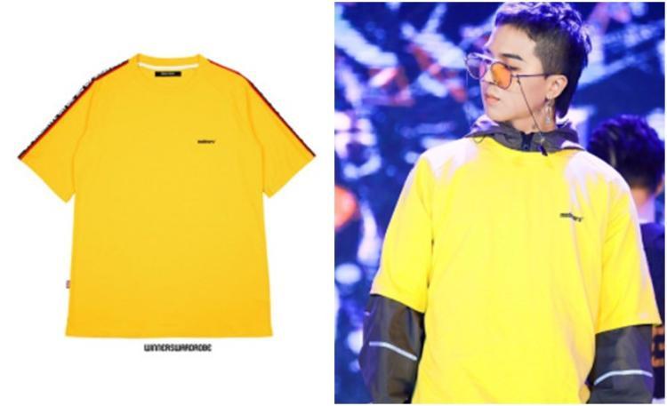 Song Mino diện áo T-shirt yellow của Madmars với giá 32 USD khoảng 700 ngàn đồng.