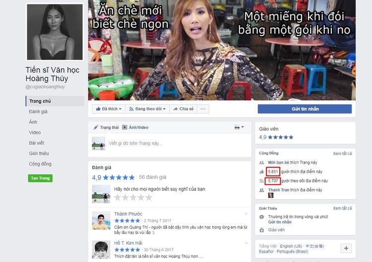 Từ những câu nói ca dao, tục ngữ thú vị, Hoàng Thùy cũng đã có ngay một trang fanpage chỉ chuyên share các câu nói của cô với hơn 5 nghìn lượt theo dõi.