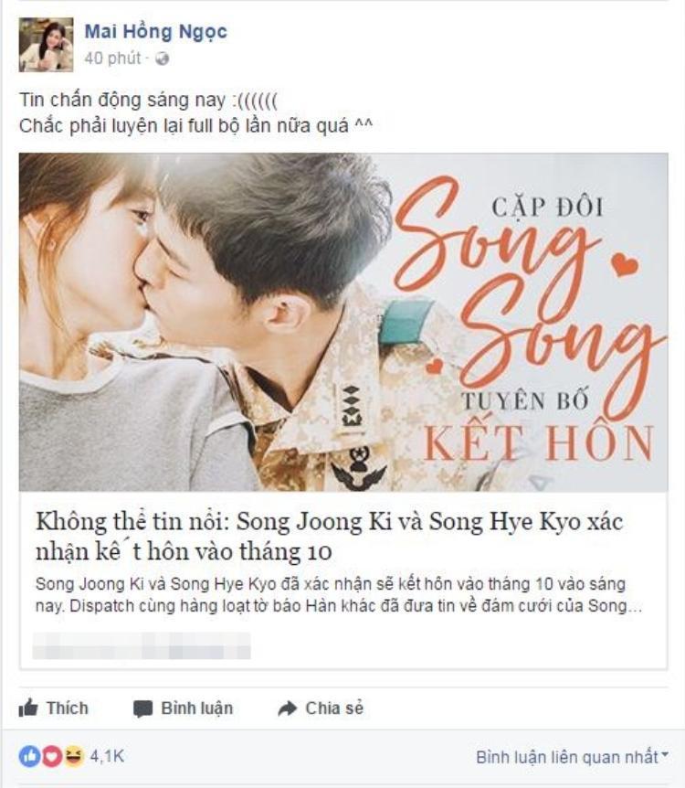 Đông Nhi vô cùng bất ngờ trước thông tin này. Nữ ca sĩ hứa hẹn xem lại hết phim Hậu duệ mặt trời với sự diễn xuất tuyệt vời của bộ đôi Song Joong Ki và Song Hye Kyo.