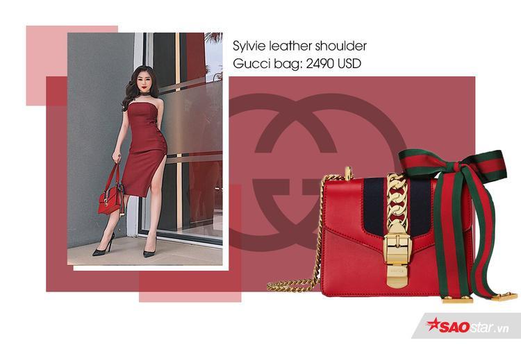 """Sau Chanel Boy thì dòng túi Sylvie leather shoulder Gucci bag là dòng túi được tín đồ Việt ra sức """"phủ sóng"""" khắp mọi nơi.Cận cảnh chiếc túi có giá 2490 USD (57 triệu đồng)"""